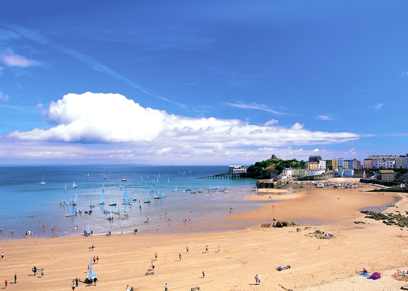 tenby north beach with boats